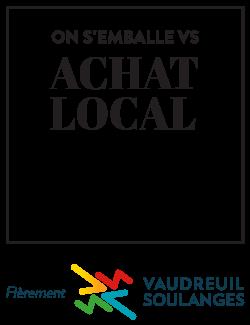 Logo campagne On s'emballe pour l'achat local dans Vaudreuil-Soulanges
